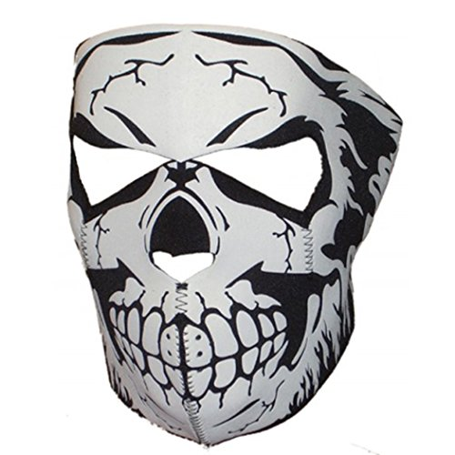Neopren Biker Vollmaske #50480 Schädel (Weißen Schädel Maske)