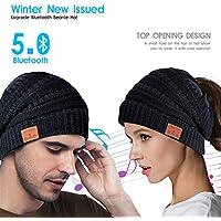 Kaufam Gorro Bluetooth, Gorro Invierno Bluetooth 5.0, Gorro de Punto Bluetooth Inalámbrico con Auriculares, Sombrero Lavable para Deportes al Aire Libre, Regalos para Navidad Hombres y Mujeres