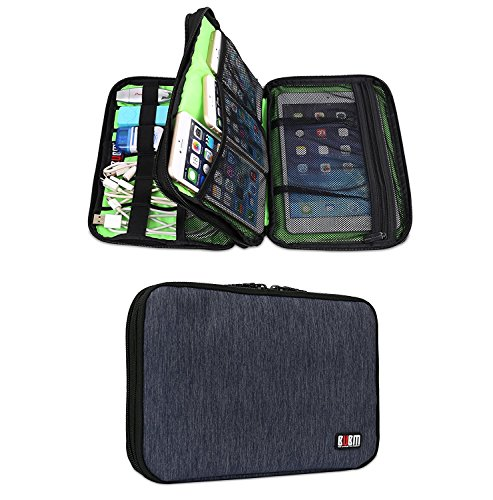 bubm-waterproof-double-layer-travel-gear-organizer-electronics-accessories-bag-with-zipper-mesh-pock