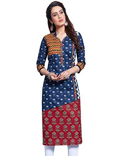 Jevi Prints Women's Unstitched Cotton Blue & Red Block Printed Kurti Fabric...