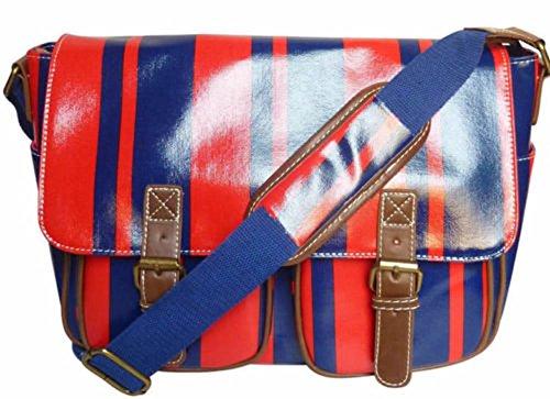 Saute Styles, Borsa a secchiello donna medium Red / Blue Stripe Bag