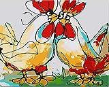 Suubboo Rahmenlose Malen nach Zahlen DIY Coloring Malerei Von Zahlen Zwei Rote Huhn Zeichnen Bilder Nach Zahlen Mit Auf Leinwand Kunstwerk Für Wohnzimmer Dekor 40X50Cm