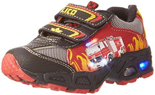 feuerwehrschuhe kinder Lico Hot V Blinky, Jungen Sneakers, Mehrfarbig (rot/schwarz/gelb), 28 EU