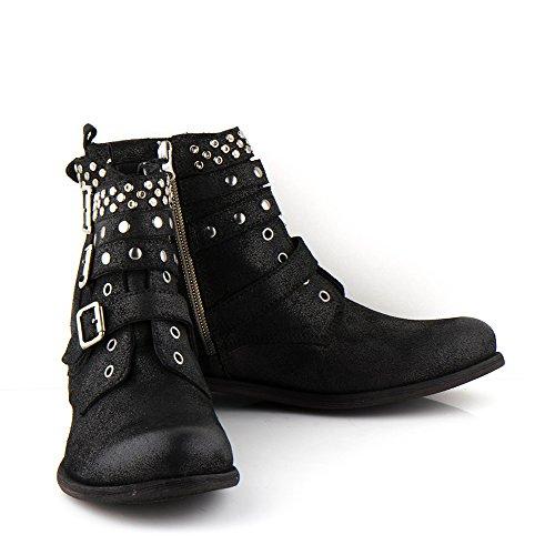 Felmini - Damen Schuhe - Verlieben Bomber 9910 - Cowboy & Biker Stiefel - Echte Leder - Schwarz Schwarz