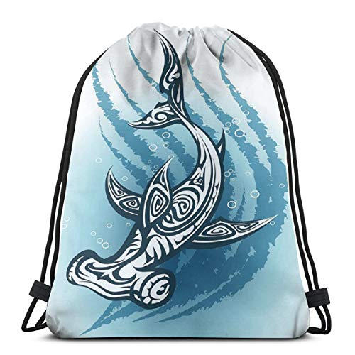 WTZYXS Drawstring Sack Backpacks Bags,Hammerhead Fish with Ornamental Ethnic Effects Swimming Ocean Image,Adjustable,5 Liter Capacity,Adjustable. -