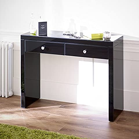 Mirrored Black Glass 2 Drawer Console