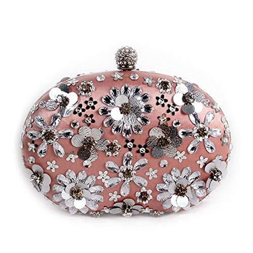ZTDXCL Damen Clutch Handtasche Blütenblätter Strass Perlen Abendtasche Party Bankett Braut Kleid Tanzparty Abendtasche/Doppelseitige Blütenblatttasche -
