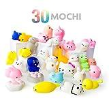 Mochi Squishy Spielzeug - 30er Pack Squishies - Mochi Squishy Tiere, Katze, Panda - Schlüsselanhänger Squishys -