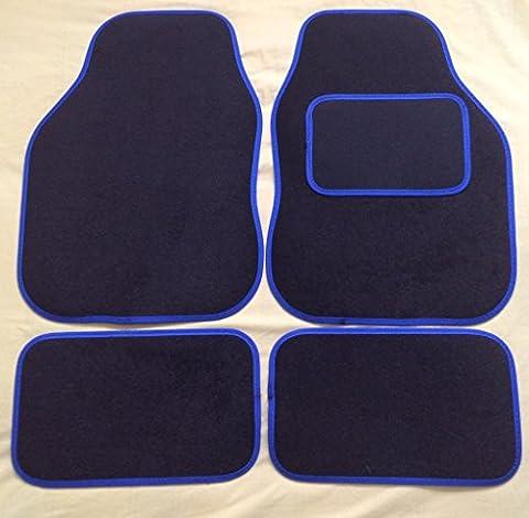 TOYOTA YARIS (1999-2006) Universal Blue Trim Black Carpet Cloth Car