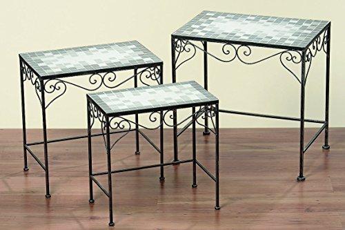 Bella-Vita GmbH Beistelltisch Tisch Colima eckig L56 cm Mosaiktisch, Eisentisch Gartentisch