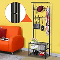 Popamazing Black/White/Pink Metal Coat Clothes Shoes Hat Umbrella Bag Steel Pipe Stand Rack Hanger Hooks Shelf