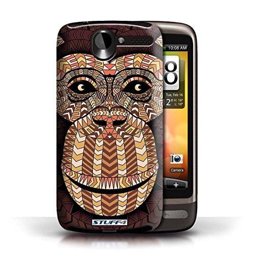 Coque de Stuff4 / Coque pour HTC Desire G7 / Loup-Bleu Design / Motif Animaux Aztec Collection Singe-Orange