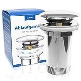 Badisan Ablaufgarnitur Pop Up für Waschbecken & Waschtisch - Universal Ablaufventil mit Überlauf aus Chrom inklusive Anleitung