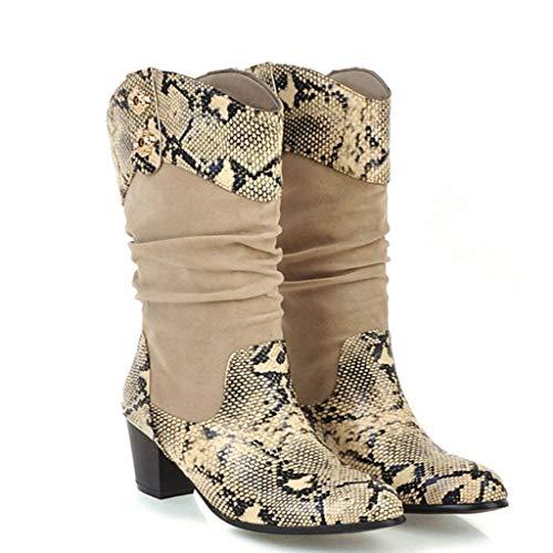 SEHRGUTGE Damen Chic Western Cowboystiefel, Patchwork Slouch Boots Reitstiefel, Wildleder mit Schlangenmuster -
