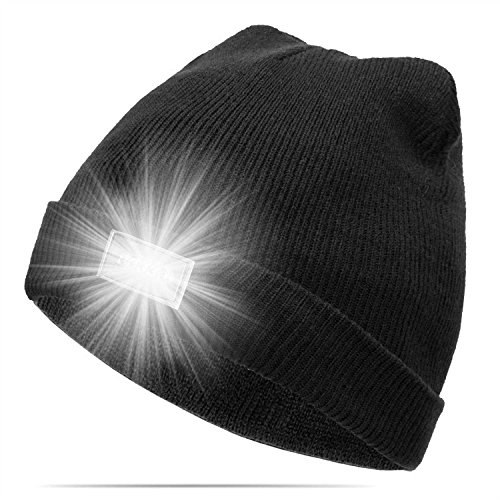 CalMyotis Mode Ultrahelle 5 LED beleuchtete Cap Unisex warme Beanie Mütze Hut...