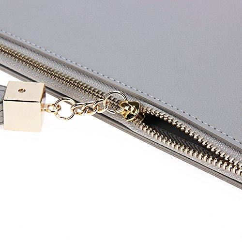 Amazingdeal365 Donne Pu Pelle Lungo Portafogli Fiocco Zipper Card Telefono Borsa Frizione (Rosso) Grigio