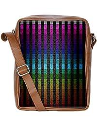 Snoogg Colourful Stripe Sling Bags Crossbody Backpack Chest Daypack Travel Bag Book Bag For Men&Women
