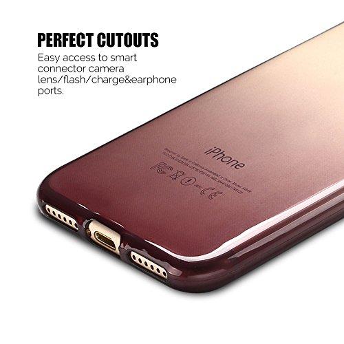 Coque iPhone 7 (4.7 pouce) , TPU Transparente Case Gradient de couleur Slim Souple Étui de Protection Flexible Soft Silicone Cover Anti Choc Ultra Mince Couverture Bumper Caoutchouc Gel Anfire Housse  Marron