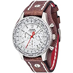 Detomaso Firenze Men's Quartz Watch with Silver/Brown Forza Di Vita Chronograph Quartz Leather DT1073 Retro B