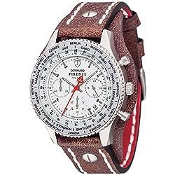 Detomaso Firenze Men's Quartz Watch with Silver/Brown Forza Di Vita Chronograph Quartz Leather DT1073Retro B