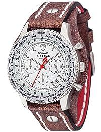 DETOMASO Herren-Armbanduhr Firenze Retro Chronograph mit silbernem Edelstahl-Gehäuse, Lederarmband und breitem Unterlegband.  Herren-Uhr mit drehbarer Lünette und Stoppuhrfunktion.