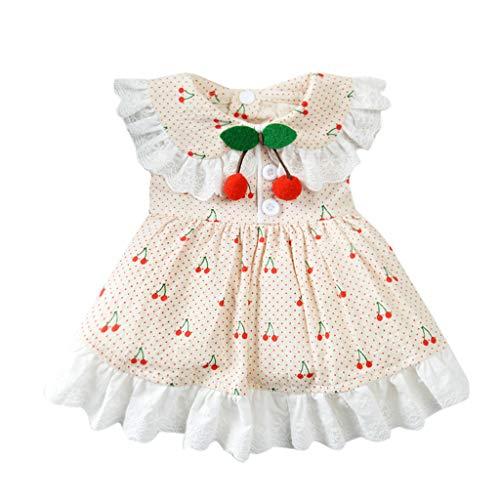 YWLINK Haustier FrüHling Und Sommer RüSchen Elegant Süß Party Kleid Atmungsaktiv Kirschdruck Rock-Kleidung Haustier-Hunderock(Rot,M)