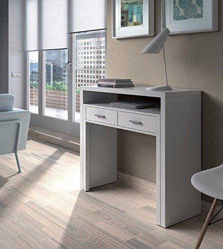 Habitdesign 004582BO - Mesa de escritorio extensible, color blanco brillo, medidas: 98,5 x 87,5 x 36- 70 cm de fondo