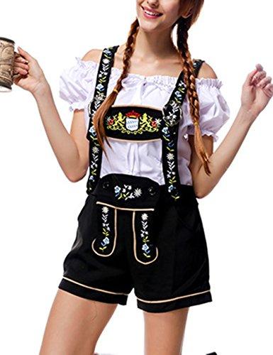 RONSHIN Frauen-Klassische Retro- Oktoberfest-Kostüme reizvolles reizend Weg von den Schulter -Oberseiten + Hosenträger-Hosen Weiß Schwarz L