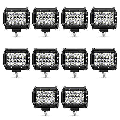 Safego 4' 72W LED Faro da Lavoro Luce Barra 6000LM Faretto a LED Impermeabile IP67 Fendinebbia Luci per Off Road SUV ATV Camion Barca Mining Spotlight 12V 24V, 1 anno di Garanzia, 10 pezz