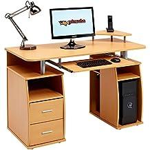 Piranha PC5b - Gran escritorio para ordenador, con 2 cajones y 4 estantes