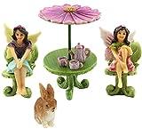 Jardín de hadas en miniatura–Accesorios–dos figuras de hada con muebles–9piezas–suministros por pretmanns