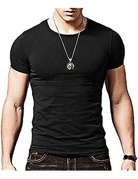 Butterme Solid Color Crew Neck Modal T-Shirt mit kurzen Ärmeln Classics Basic Shirt fur Männer Herren in Verschiedenen...