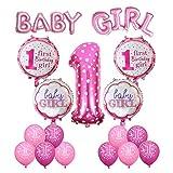 Cocodeko Geburtstag Dekoration Aufblasbar Helium Folie Ballons, Happy Birthday Baby Girl Mädchen 1. Geburtstag Party Luftballons Set Supplies, Party Dusche Foto Requisiten Zahl 1 rund Herz - Rosa