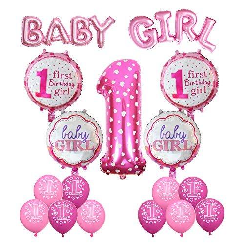 Cocodeko Geburtstag Dekoration Aufblasbar Helium Folie Ballons, Happy Birthday Baby Girl Mädchen 1. Geburtstag Party Luftballons Set Supplies, Party Dusche Foto Requisiten Zahl 1 rund Herz - Rosa - Birthday Mädchen 1 Supplies Party