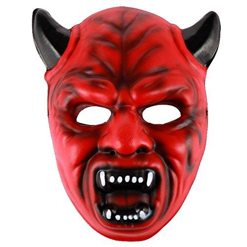 Eizur Halloween Maschera Horror Divertente Mostro Scary Facciale Maschere Masquerade per Halloween Partito Costume Cosplay Carnevale Feste Travestimenti Palla--Rosso Diavolo
