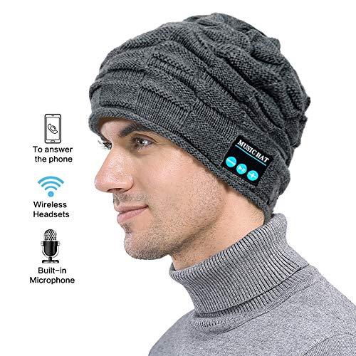 Drahtlose Bluetooth-Beanie Hat Unisex Women Men Winter Waschbar Warme Musik Gestrickte Kappe Mit Freisprecheinrichtung Für Das Laufen Skifahren Skating Wandern,, Gray (Womens Hats Warm)