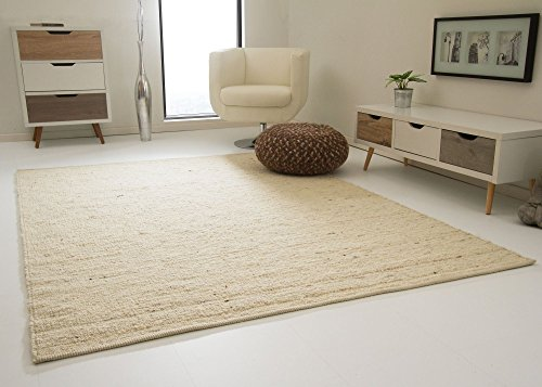 Landshut Handweb Teppich aus 100% Schurwolle - natur hell, Größe: 170x230 cm