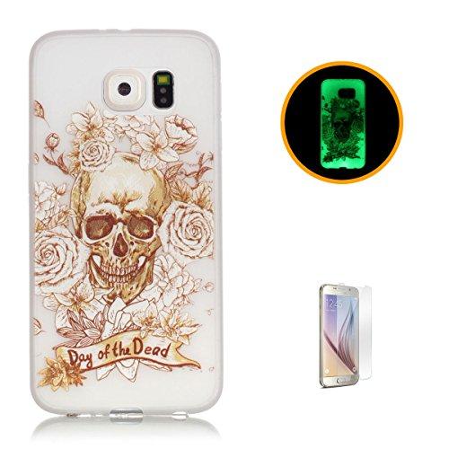 CaseHome Samsung Galaxy S6 Luminous Hülle (Mit Frie Displayschutzfolie) Leuchtende Silikone Rückhülle Für iPhone 6 6s Plus 5.5 Zoll Zoll Silikon Etui Handy Hülle Weiche Transparente Luminous TPU Back  Gold Schädel-Rosen