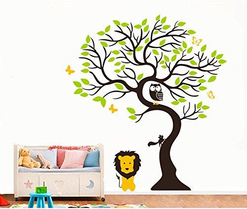 Rainbow Fox Eule und Schmetterling Gesang auf Gigant Baum Wandtattoo Wandaufkleber für Baby-Kindergarten (Groß) - Baby Fox-bild