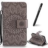 Schutzhülle für Nokia Lumia 630 Grau,Slynmax Mandala Blume Hülle Wallet Case Handyhülle für Nokia Lumia 630/635 Tasche Klapphülle Flip Cover Ledertasche Brieftasche Lederhülle Handytasche,Flower
