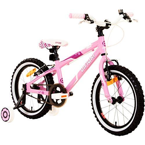 Difiori Blush 16 Zoll Mädchenfahrrad Kinderfahrrad Fahrrad Kinder Stützräder pink