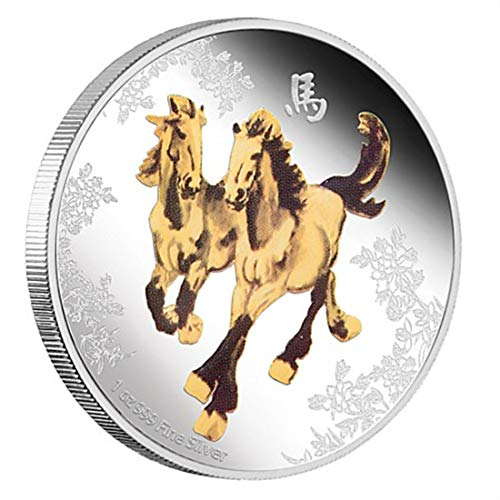 2014 Nation of Niue Feng Shui Proof Silver Horses 999 Pure Silver 5000 Mined. -