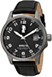 Invicta Men's Quartz Watch with Black Dial Analogue Display and Black Leather Strap 15256