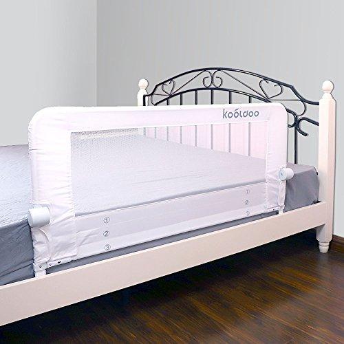 KOOLDOO Bettgitter 110cm Länge Weiß abklappbar Bettschutzgitter für Babys und Erwachsenen
