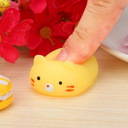 Mochi Squeeze Spielzeug, Sansee Nette Mochi Squishy Katze Squeeze Heilung Spaß Kinder Kawaii Spielzeug Stress Reliever #1116 (#1116, Gelb)