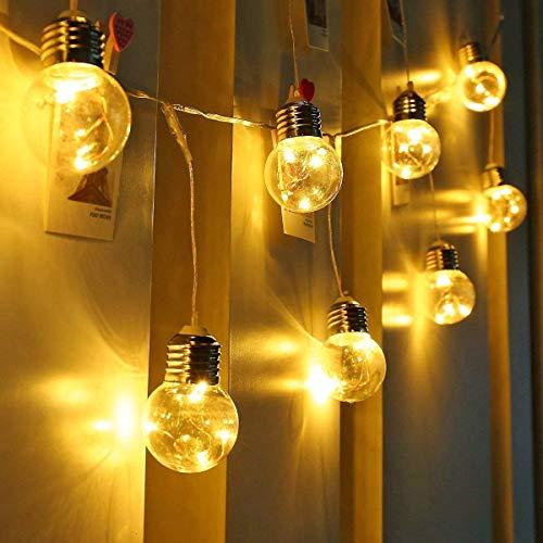 LE Lichterkette mit LED Kugel,4.5W Kupferdraht Lichterkette mit Stecker,6M Lichterketten für zimmer,Warmweiß Strombetrieben,lichterkette für Weihnachtsbaum,  Innen deko,Haus Party,Hochzeit,Balkon,usw. (Der Weihnachten Kugeln Decke Hängen Von)
