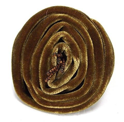 Closed Rose Beaded Fairtrade Velvet Corsage Brooch (Brown)