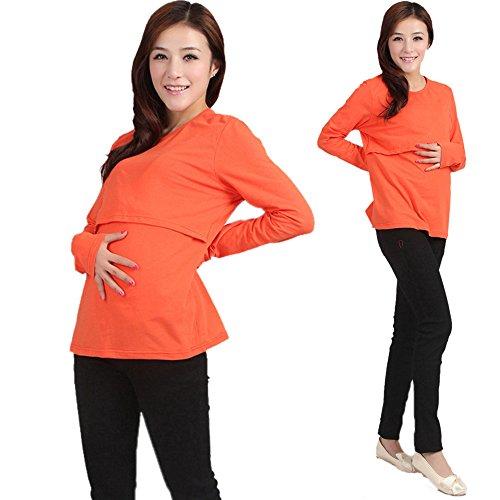 GNYD Pregnant Maternity Clothes Nursing Tops Breastfeeding Long Sleeve T-Shirt (XL, Orange)