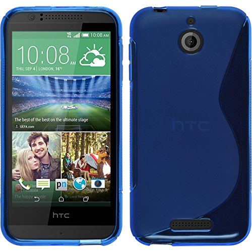 PhoneNatic Case kompatibel mit HTC Desire 510 - blau Silikon Hülle S-Style + 2 Schutzfolien
