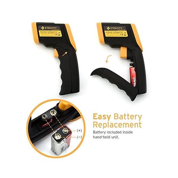 Etekcity 774 – Termómetro digital por infrarrojos (medidor de temperatura sin contacto, -50 hasta +380 °C, iluminación LCD, color amarillo/negro, no apto para personas)